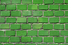 grön vägg för tegelsten Arkivfoton