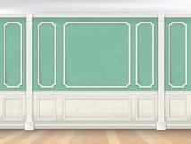 Grön vägg med pilaster Royaltyfri Bild
