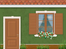 Grön väggdörr och fönster Fotografering för Bildbyråer