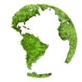 Grön värld som göras av gräs, illustration 3d Arkivfoto