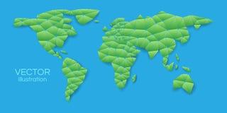 Grön världskarta i en triangulär form på en blå bakgrund Vecto stock illustrationer