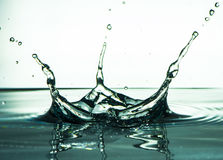 Grön vätskevattenfärgstänk med droppar Färgstänkbegrepp Fotografering för Bildbyråer