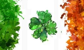 Grön växt av släktet Trifolium för vattenfärg och irländsk flagga stock illustrationer