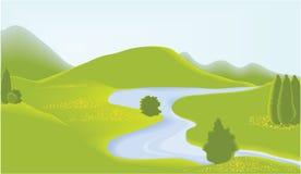 grön valey stock illustrationer
