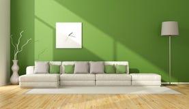 Grön vardagsrum för samtida stock illustrationer