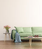 Grön vardagsrum för samtida royaltyfri foto