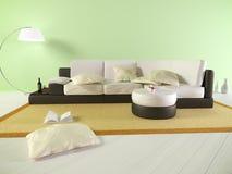 Grön vardagsrum med soffan och böcker Royaltyfri Foto