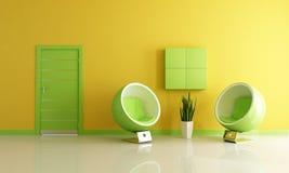 grön vardagsrumyellow Arkivfoto