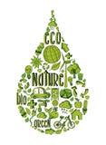 Grön vattendroppe med miljö- symboler Royaltyfria Bilder