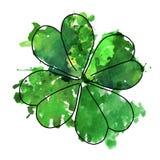 Grön vattenfärgväxt av släktet Trifoliumillustration vektor illustrationer
