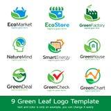 Grön vektor för design för bladEco mall Vektor Illustrationer
