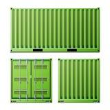 Grön vektor för lastbehållare Fraktsändningsbehållarebegrepp Logistik trans.åtlöje upp tillbaka framdel royaltyfri illustrationer