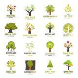 Grön vektor för samling för emblem för eco för natur för företag för emblem för trädkonturlogo royaltyfri illustrationer