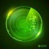 Grön vektorradarskärm stock illustrationer