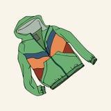 Grön vindtygsjacka royaltyfri illustrationer