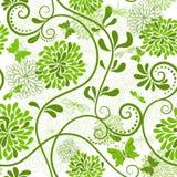 Grön-vit blom- modell Royaltyfri Foto