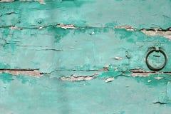 Grön wood tappningdörr Arkivfoto