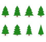 Grön xmas-träduppsättning som isoleras på vit vektor illustrationer
