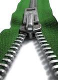 grön zipper Fotografering för Bildbyråer