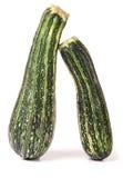 Grön zucchini som två isoleras på vit bakgrund Fotografering för Bildbyråer