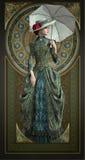 Gröna Belle Epoque Gown, 3d CG Royaltyfri Foto