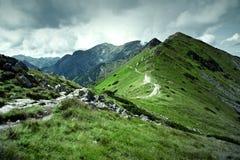 Gröna berg och mörk molnig himmel arkivfoto
