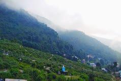 Gröna berg som täckas av moln royaltyfria foton