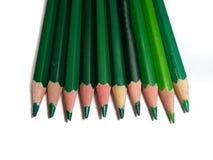 gröna blyertspennor Royaltyfri Bild