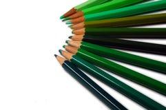 gröna blyertspennor för färg Arkivbilder
