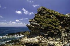 Gröna busksnår täckte den steniga strukturen som lokaliserades i den Kapas ön, Malaysia Royaltyfri Fotografi