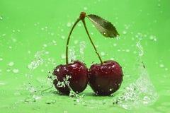 Gröna Cherry Splash Royaltyfri Foto