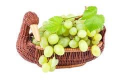 Gröna druvor i en korg som isoleras på vit Arkivbilder