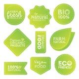 Gröna Eco matetiketter Vård- överskrifter Vektorillustrationsamling Arkivfoton