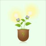 Gröna energilampor på växten vektor illustrationer