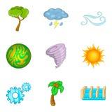 Gröna energisymboler uppsättning, tecknad filmstil Arkivbild
