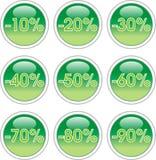 gröna etiketter Arkivbild