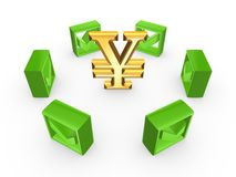 Gröna fästingfläckar runt om symbol av yen. Arkivfoto