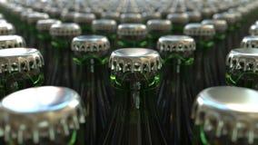 Gröna flaskor med öl eller läsken framförande 3d royaltyfri illustrationer
