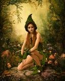 Gröna Forest Elf, 3d CG stock illustrationer