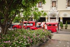 Gröna gator av Chiang Mai City och röda bilar Royaltyfri Bild
