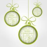 Gröna glada jultextbollar vektor illustrationer
