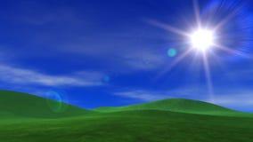 Gröna gräs- kullar & blå himmel stock illustrationer