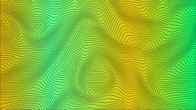 Gröna & gula färgrika curvy geometriska linjer vinkar modelltextur på färgrik bakgrund vektor illustrationer