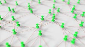 Gröna häftstift och trådar komponerar ett nätverk på en tolkning för pinboard 3D Royaltyfri Bild