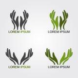 gröna händer Arkivbild