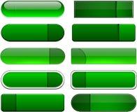 Gröna hög-detaljerade moderna rengöringsdukknappar. Royaltyfri Foto