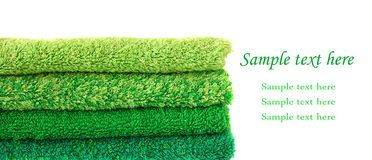 gröna handdukar Fotografering för Bildbyråer