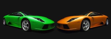 gröna italienska orange sportar för bilar Arkivbild