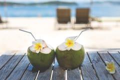 Gröna kokosnötter och vita frangipaniblommor på trätabellen på sjösidan i sommar royaltyfri fotografi
