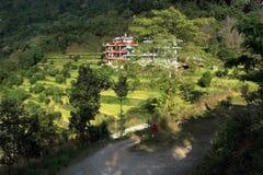 Gröna kullar för hotell i Sedi Bagar på utkanten av Pokhara Royaltyfria Bilder